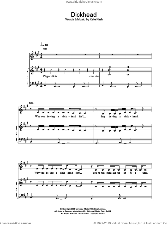 Dickhead sheet music for voice, piano or guitar by Kate Nash. Score Image Preview.