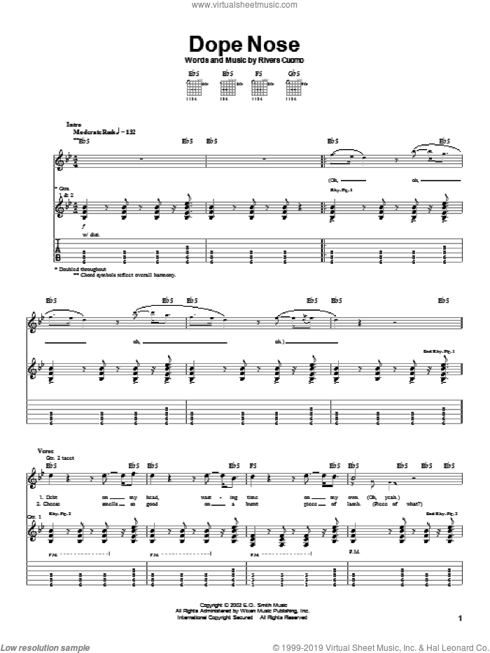 Dope Nose sheet music for guitar (tablature) by Weezer, intermediate. Score Image Preview.
