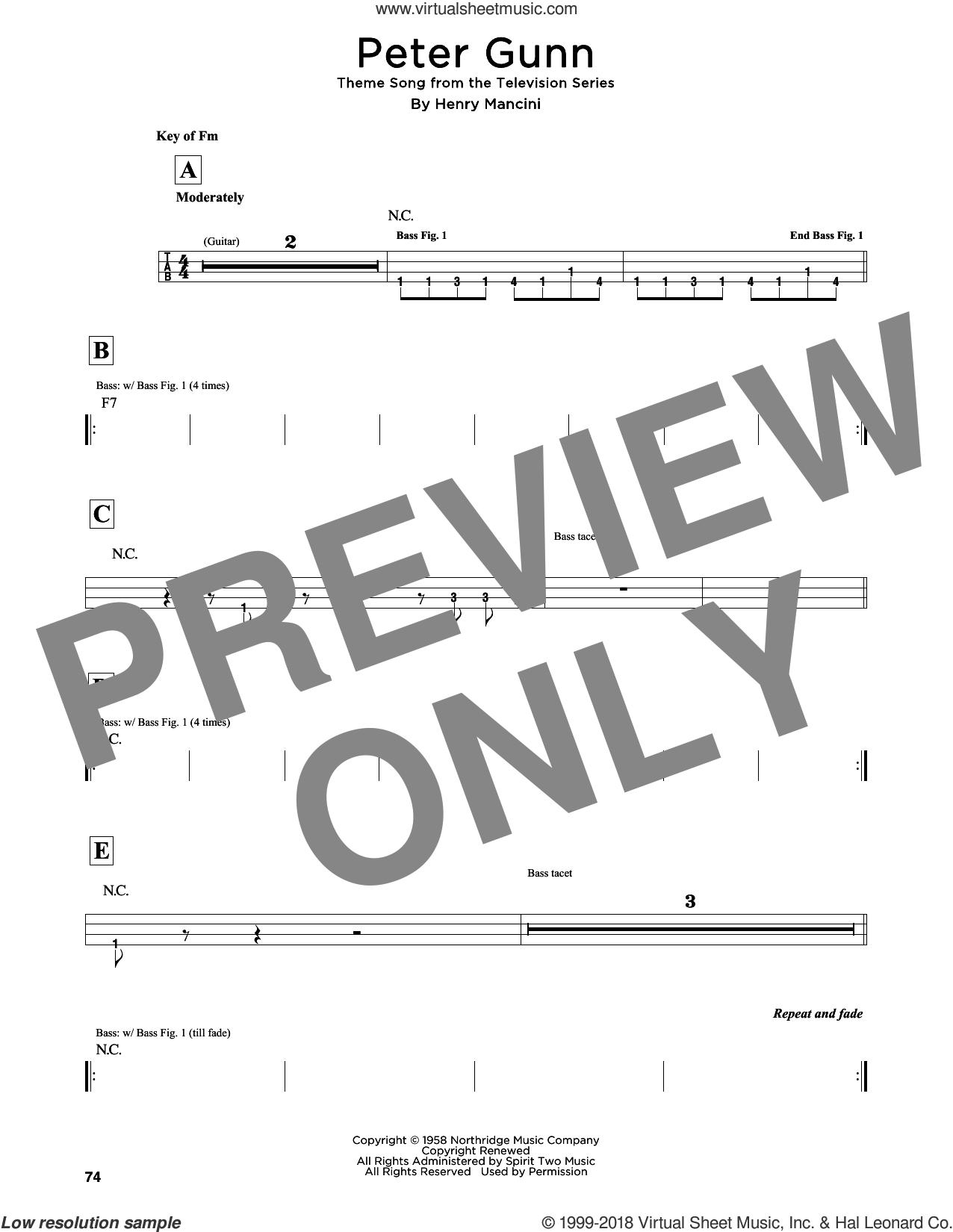 Peter Gunn sheet music for bass solo by Henry Mancini, intermediate skill level