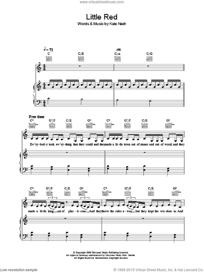 Little Red sheet music for voice, piano or guitar by Kate Nash, intermediate. Score Image Preview.
