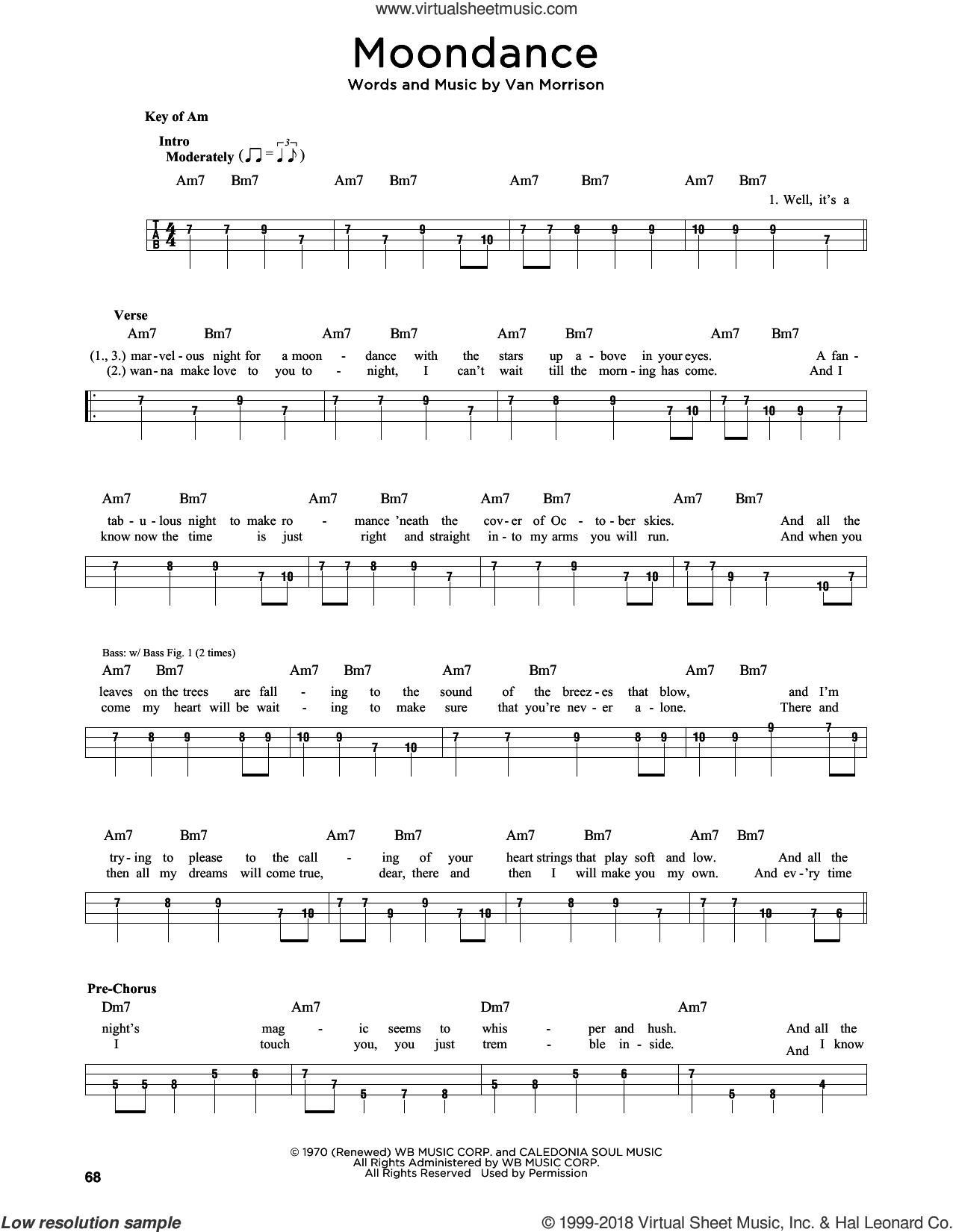 Moondance sheet music for bass solo by Van Morrison, intermediate skill level
