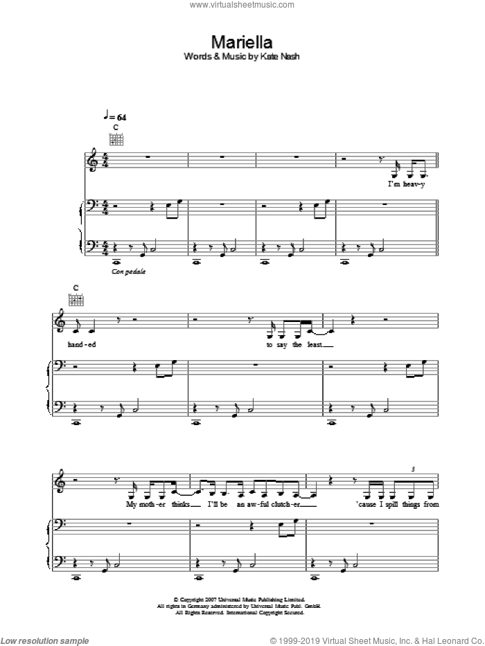 Mariella sheet music for voice, piano or guitar by Kate Nash, intermediate skill level