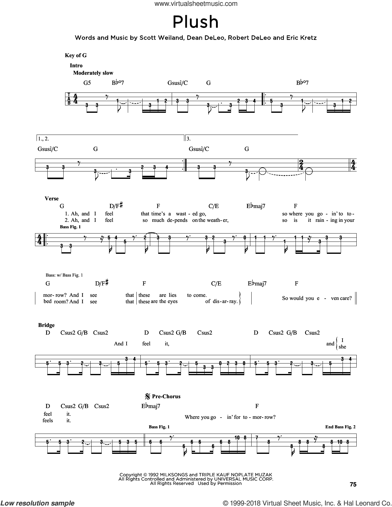 Plush sheet music for bass solo by Stone Temple Pilots, Dean DeLeo, Eric Kretz, Robert DeLeo and Scott Weiland, intermediate skill level