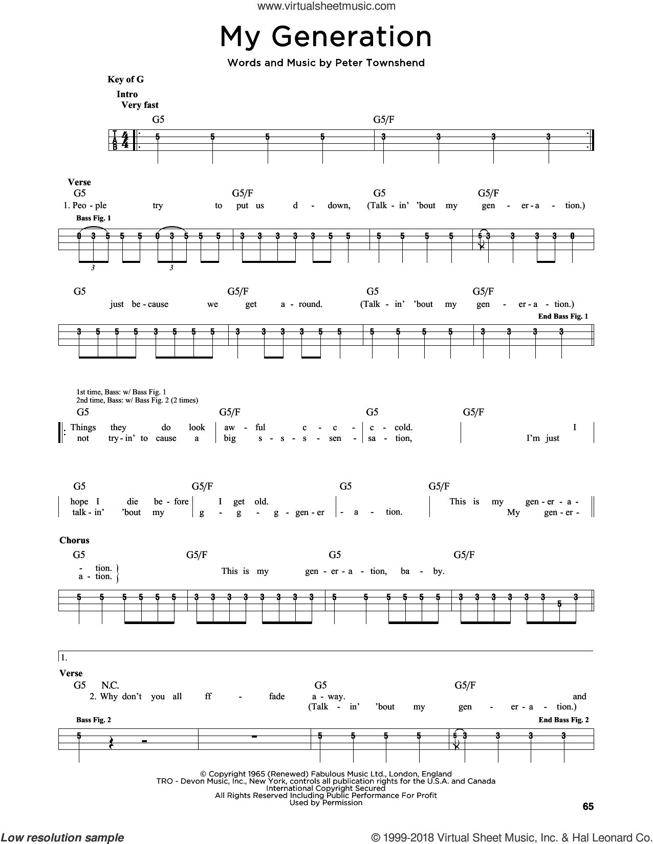 My Generation sheet music for bass solo by The Who and Pete Townshend, intermediate skill level