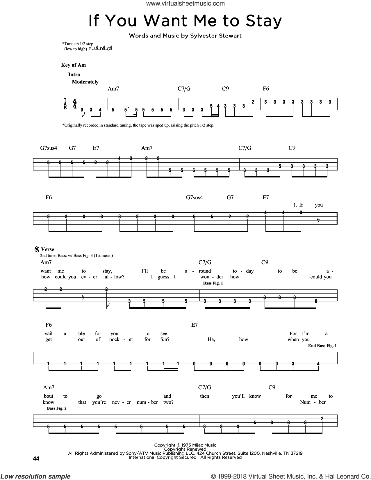If You Want Me To Stay sheet music for bass solo by Sly & The Family Stone, Red Hot Chili Peppers and Sylvester Stewart, intermediate skill level