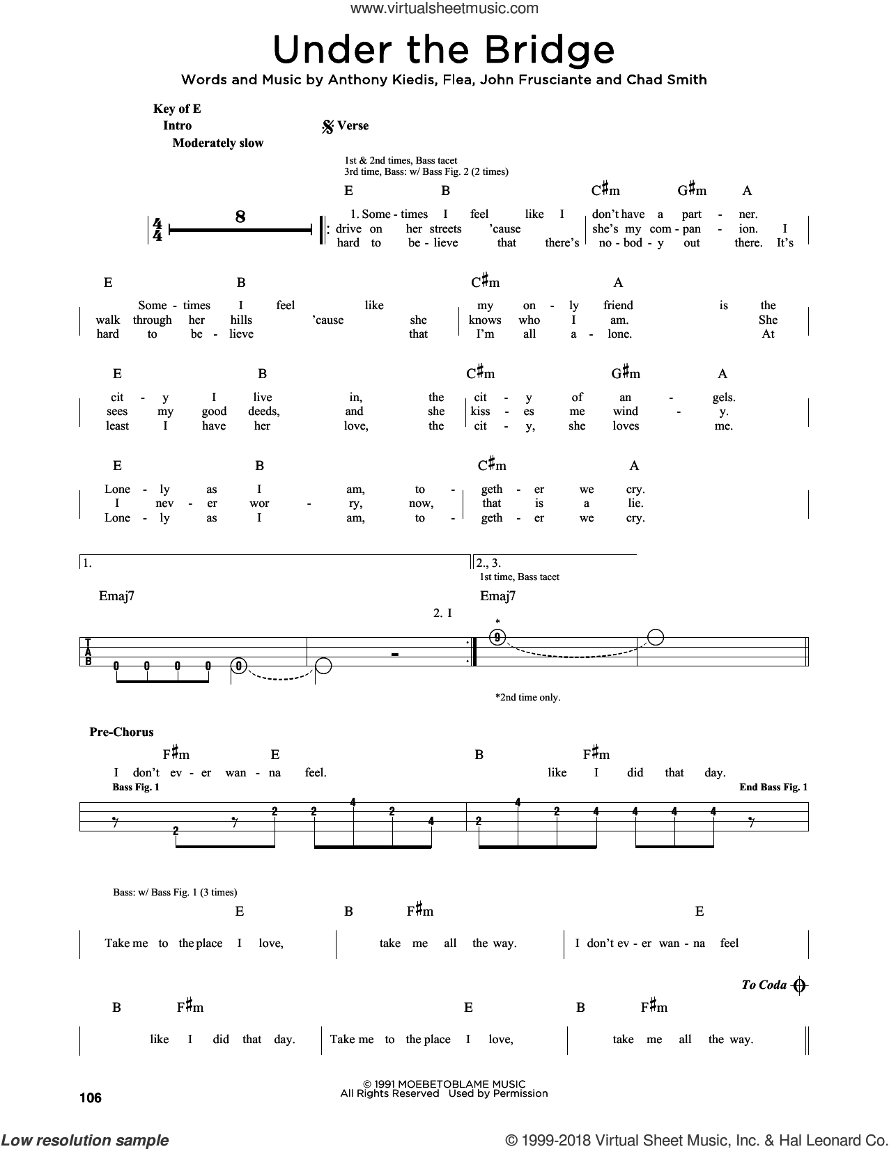 Under The Bridge sheet music for bass solo by Red Hot Chili Peppers, Anthony Kiedis, Chad Smith, Flea and John Frusciante, intermediate skill level