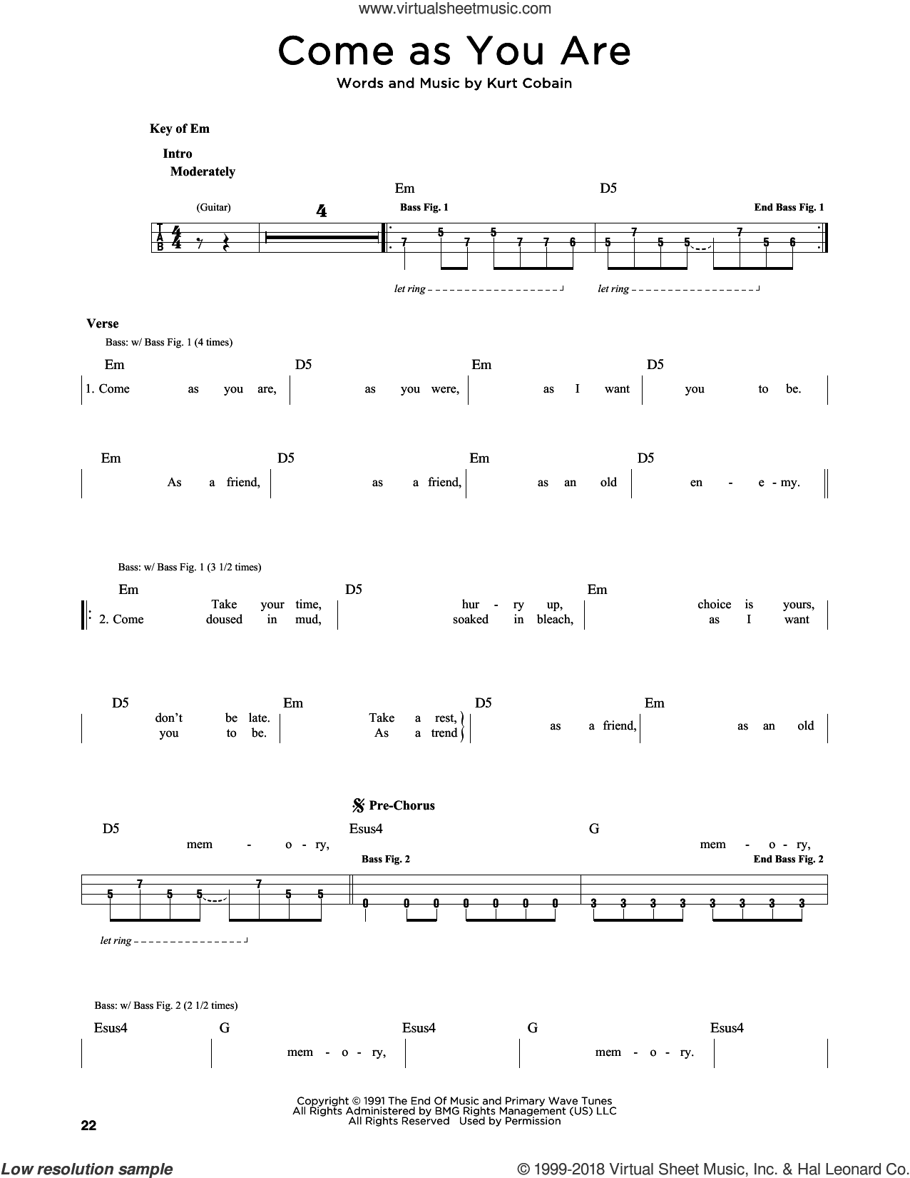 Come As You Are sheet music for bass solo by Nirvana and Kurt Cobain, intermediate skill level