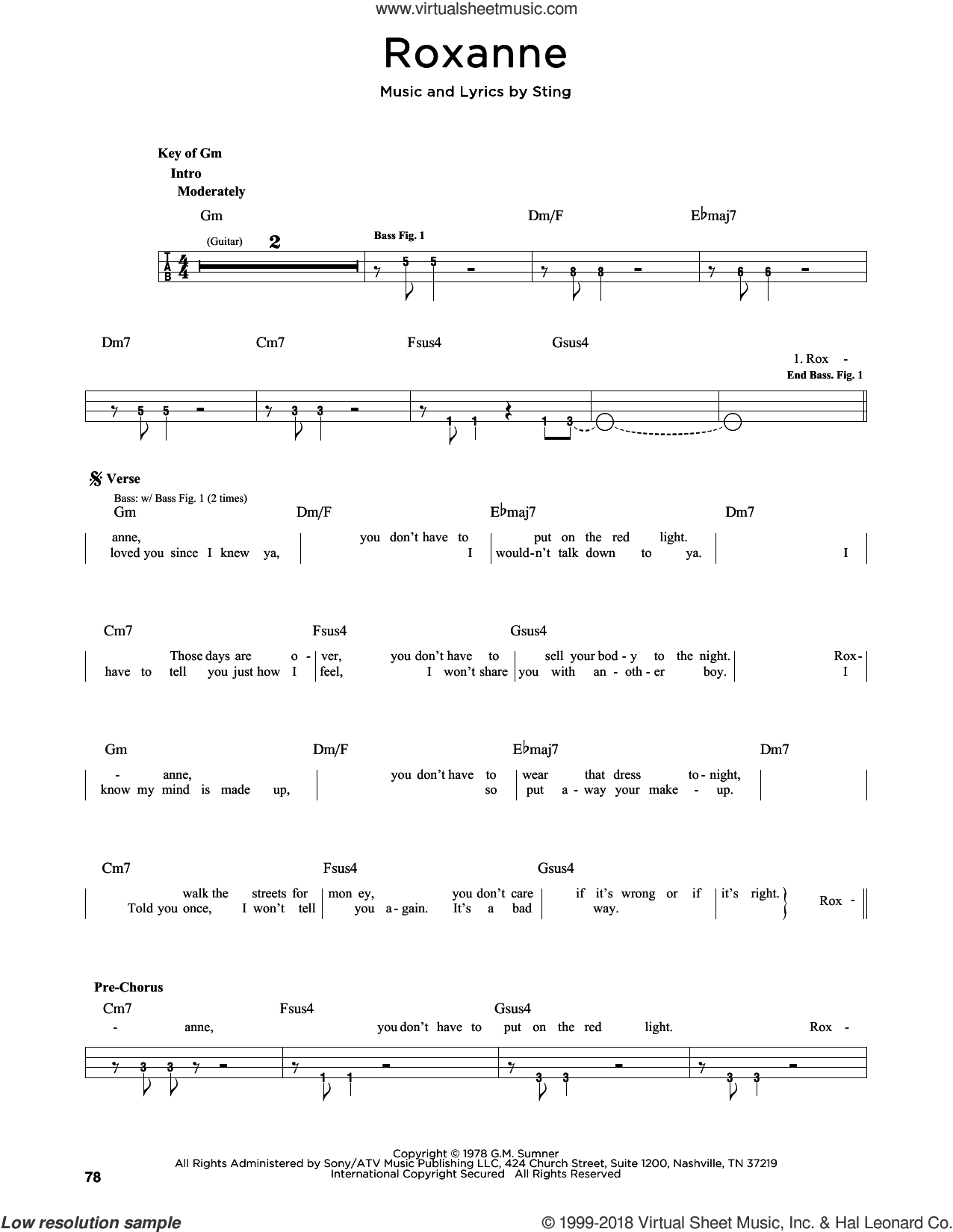 Roxanne sheet music for bass solo by The Police and Sting, intermediate skill level