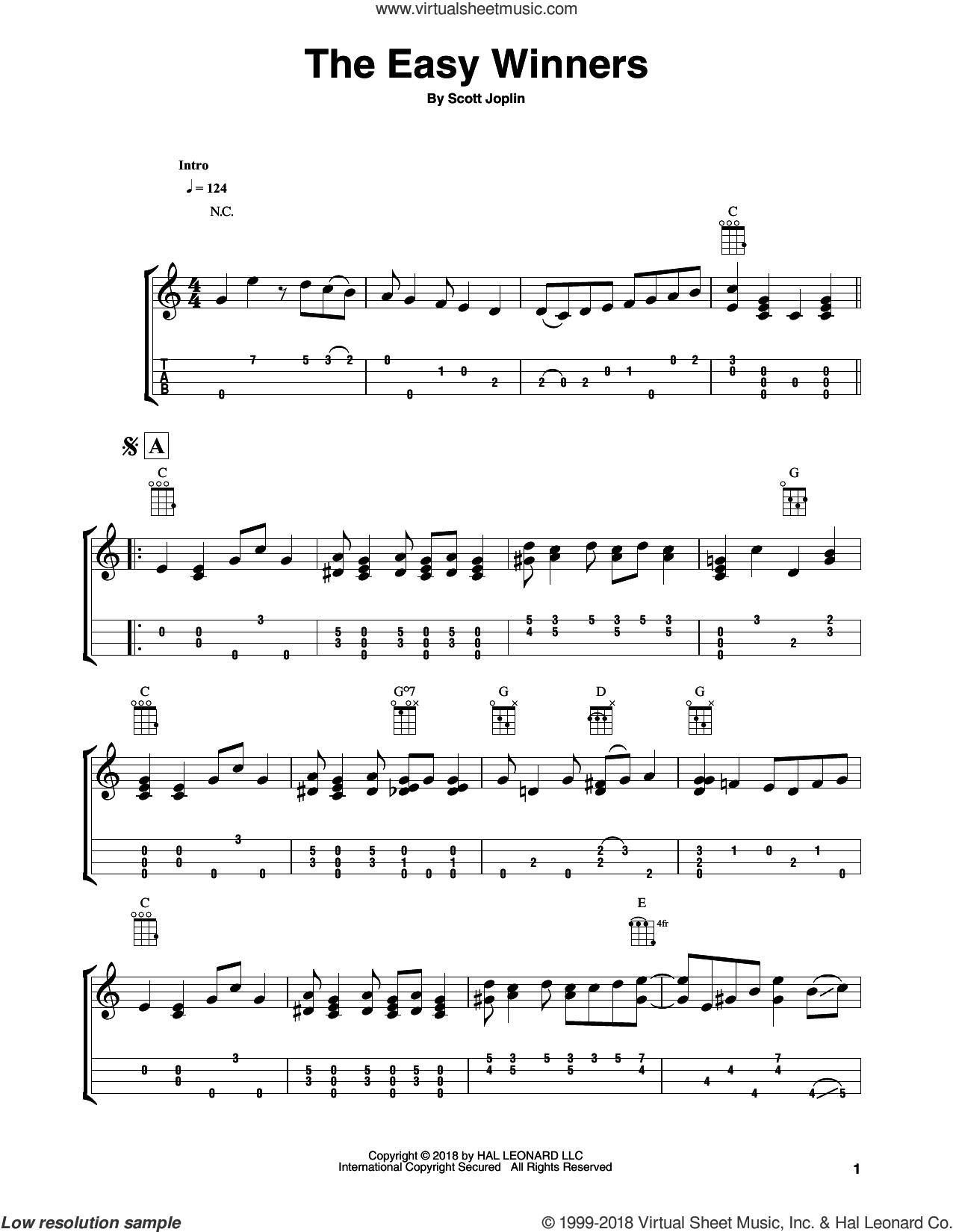 The Easy Winners sheet music for ukulele by Scott Joplin and Fred Sokolow, intermediate skill level