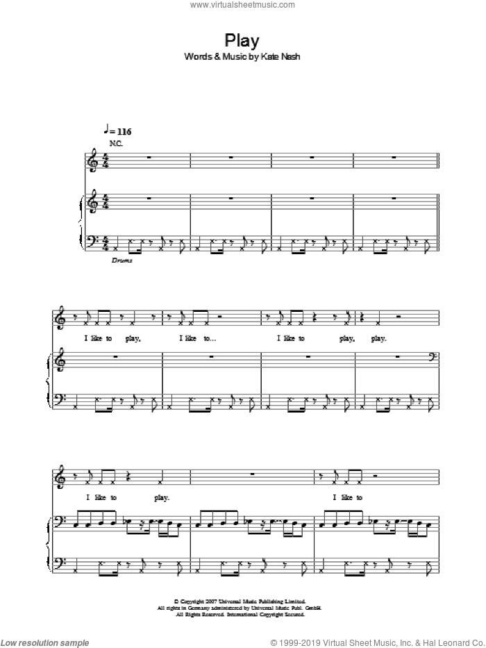 Play sheet music for voice, piano or guitar by Kate Nash, intermediate skill level