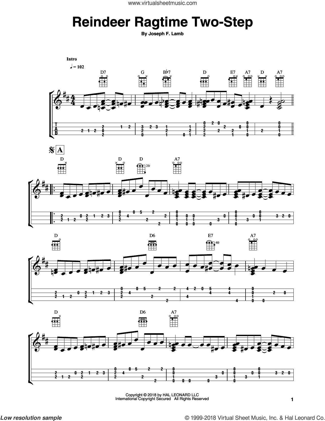 Reindeer Ragtime Two-Step sheet music for ukulele (easy tablature) (ukulele easy tab) by Joseph Lamb and Fred Sokolow, intermediate skill level