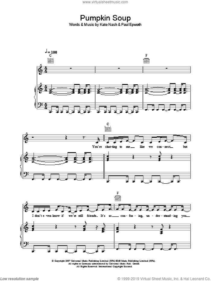 Pumpkin Soup sheet music for voice, piano or guitar by Kate Nash and Paul Epworth, intermediate skill level