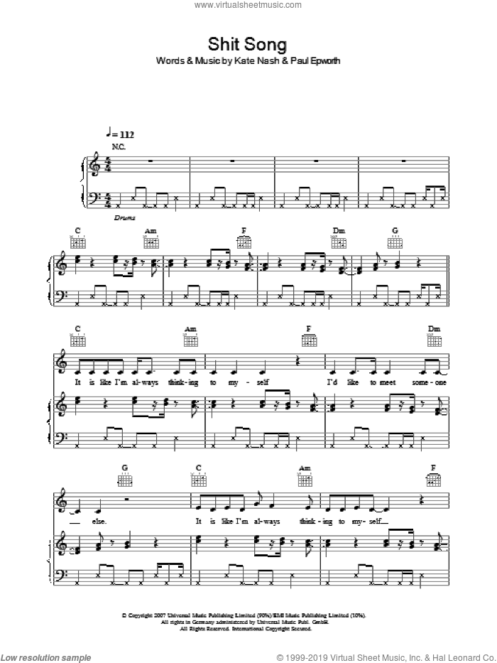 Shit Song sheet music for voice, piano or guitar by Paul Epworth