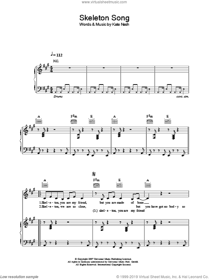 Skeleton Song sheet music for voice, piano or guitar by Kate Nash
