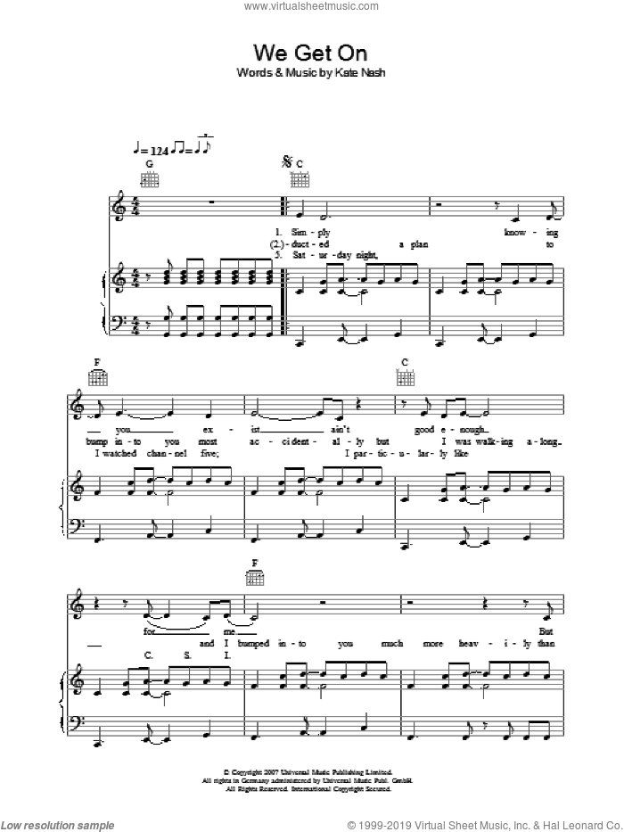 We Get On sheet music for voice, piano or guitar by Kate Nash