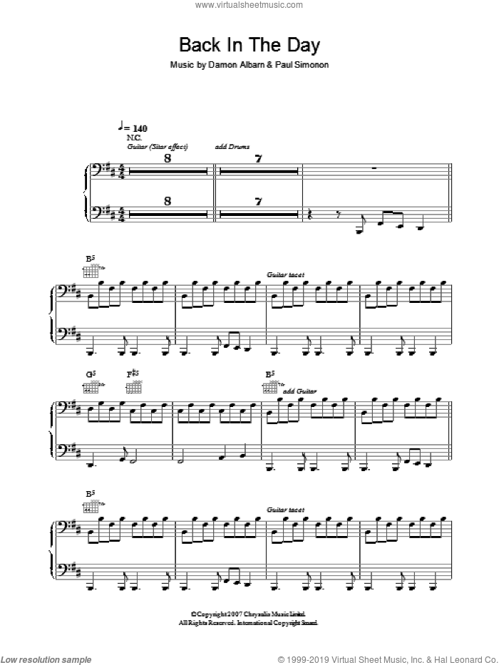 Back In The Day sheet music for voice, piano or guitar by Damon Albarn and Paul Simonon. Score Image Preview.