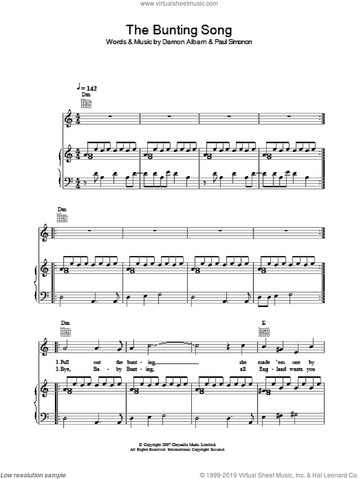 The Bunting Song sheet music for voice, piano or guitar by Damon Albarn