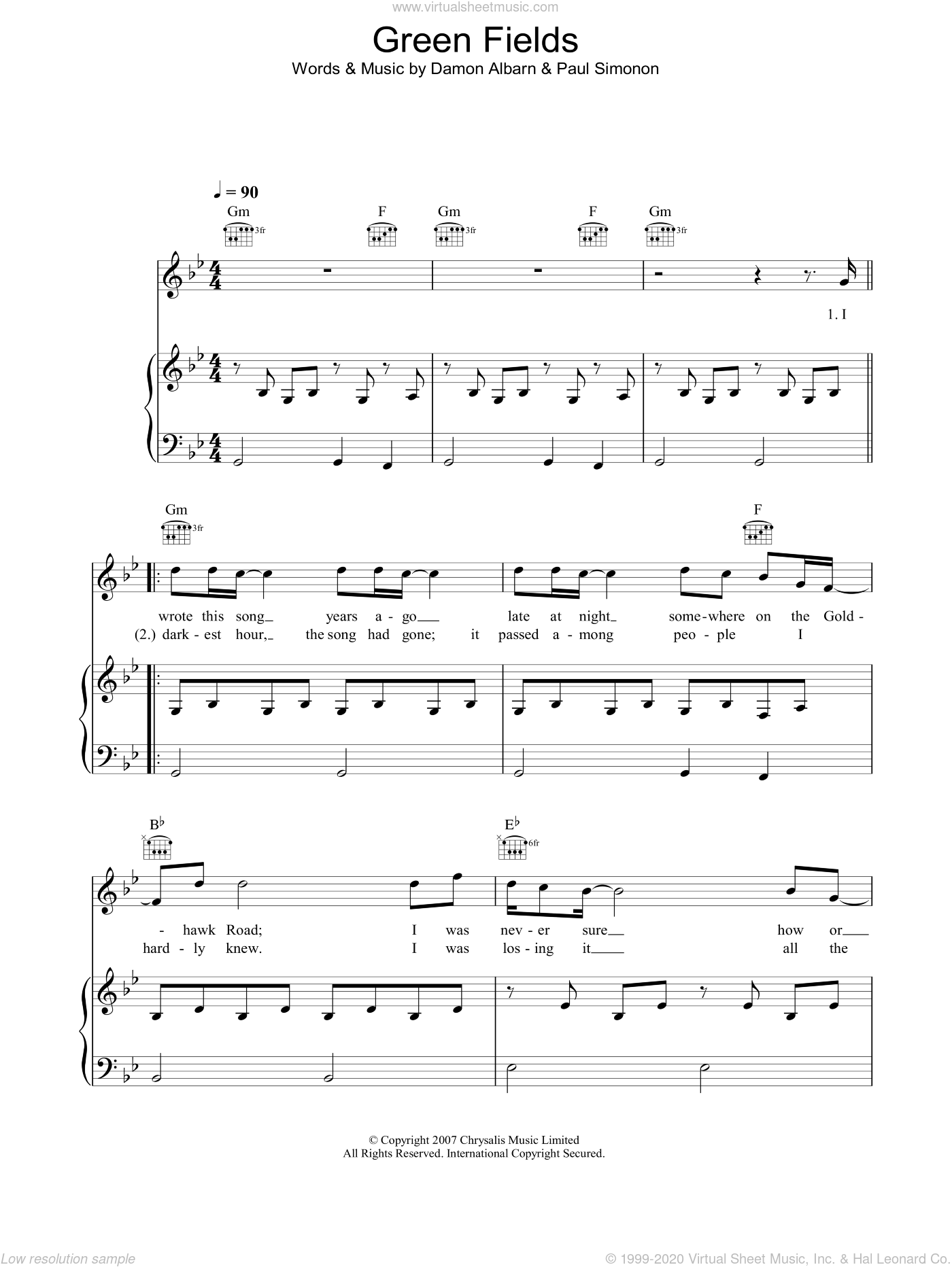 Green Fields sheet music for voice, piano or guitar by Damon Albarn