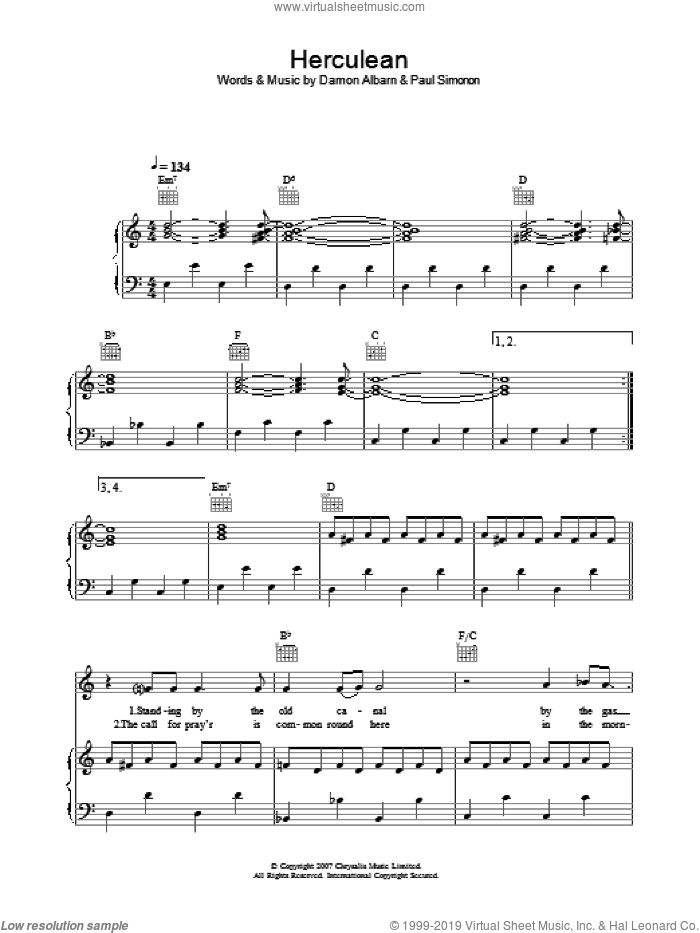 Herculean sheet music for voice, piano or guitar by Damon Albarn