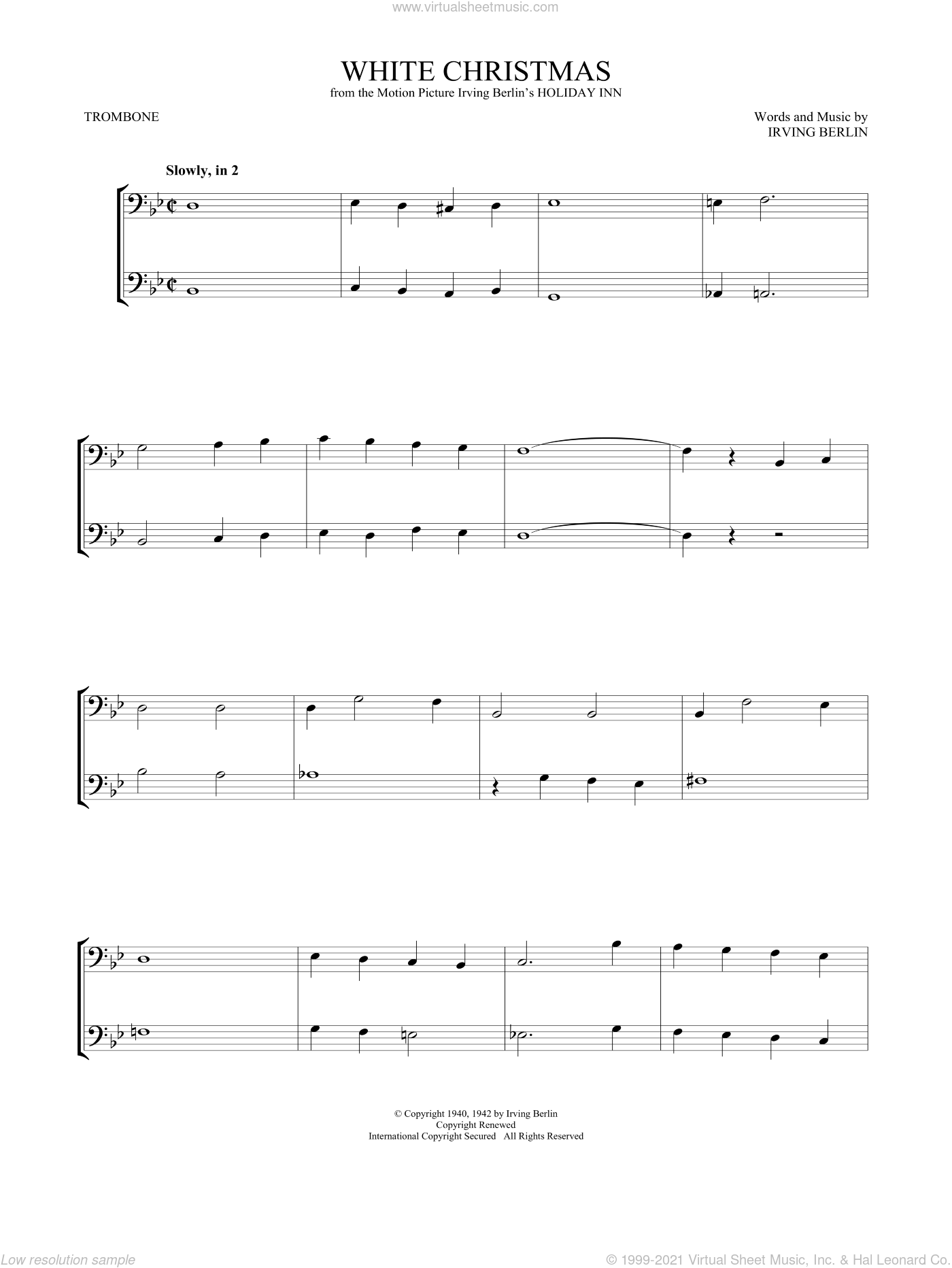 White Christmas sheet music for two trombones (duet, duets) by Irving Berlin, intermediate skill level