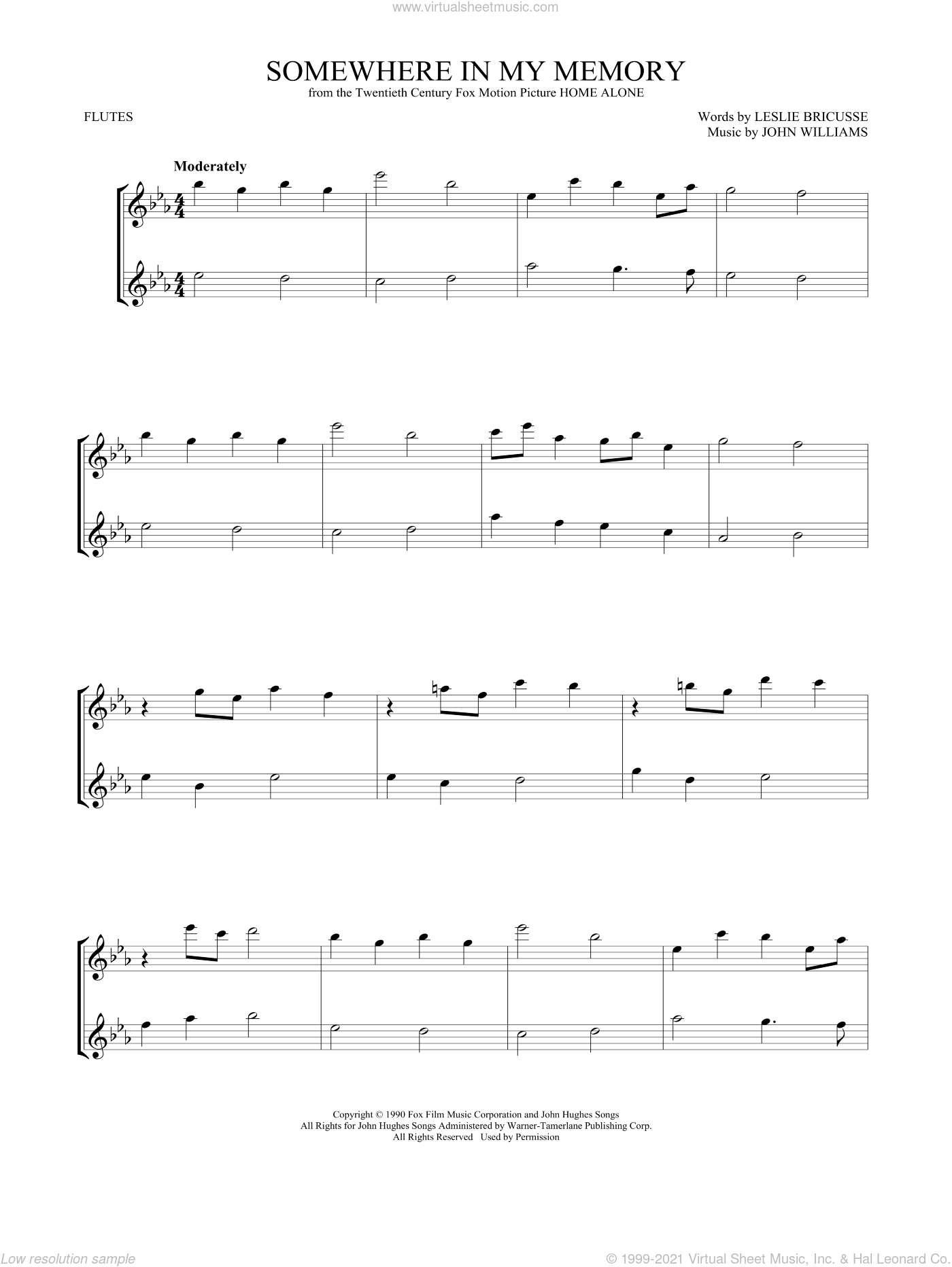 Somewhere In My Memory sheet music for two flutes (duets) by John Williams, intermediate skill level