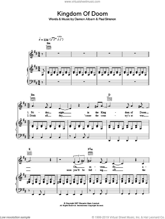 Kingdom Of Doom sheet music for voice, piano or guitar by The Good The Bad & The Queen and Damon Albarn. Score Image Preview.