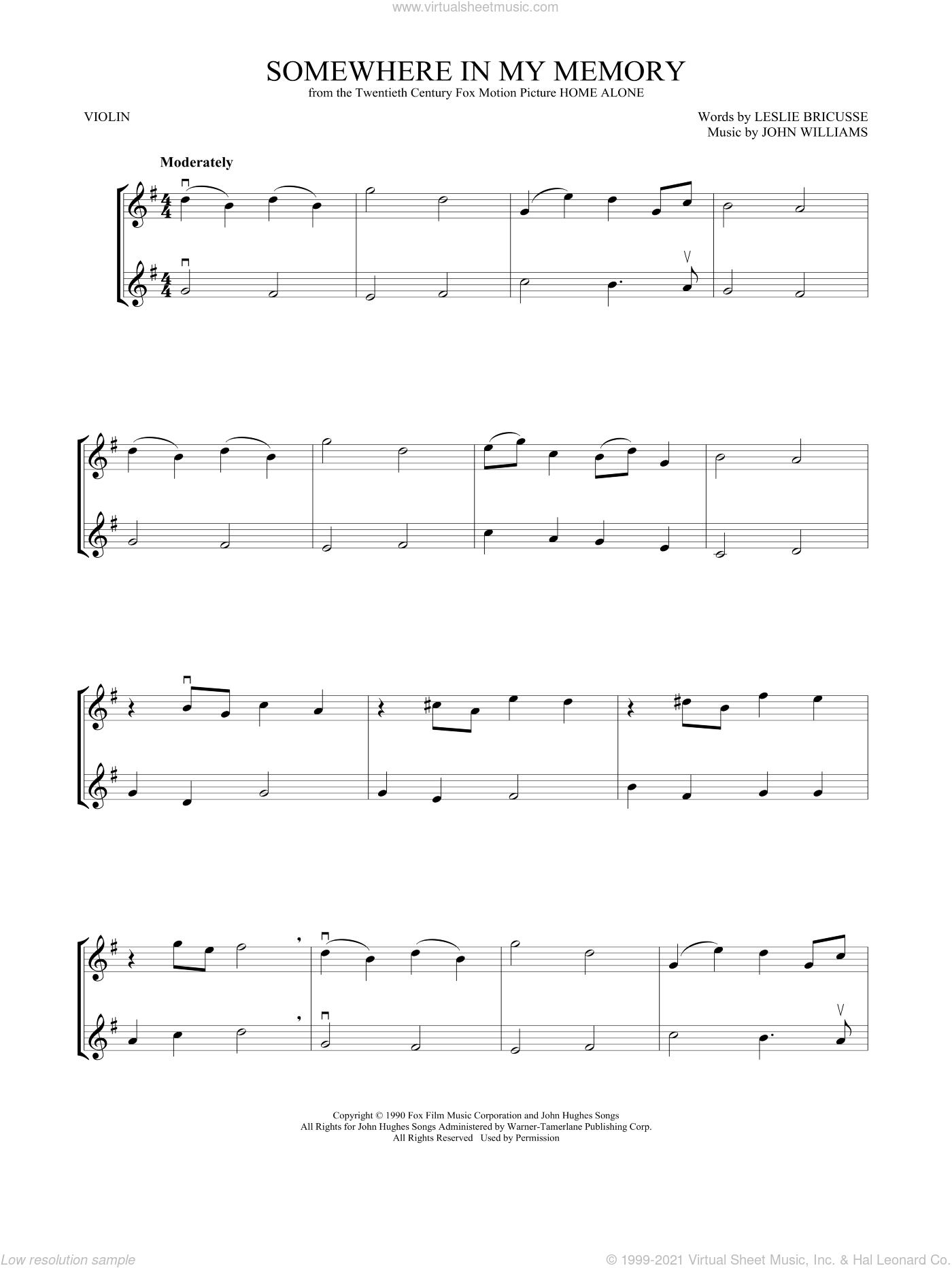 Somewhere In My Memory sheet music for two violins (duets, violin duets) by John Williams, intermediate skill level