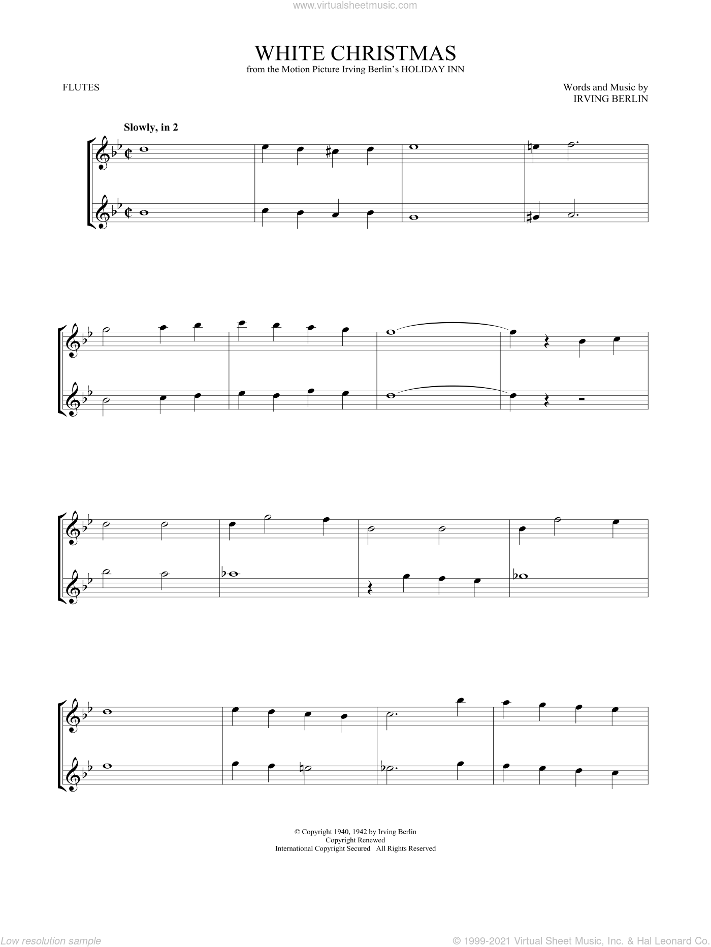 White Christmas sheet music for two flutes (duets) by Irving Berlin, intermediate skill level