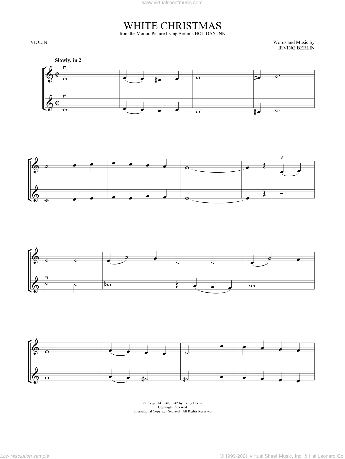 White Christmas sheet music for two violins (duets, violin duets) by Irving Berlin, intermediate skill level