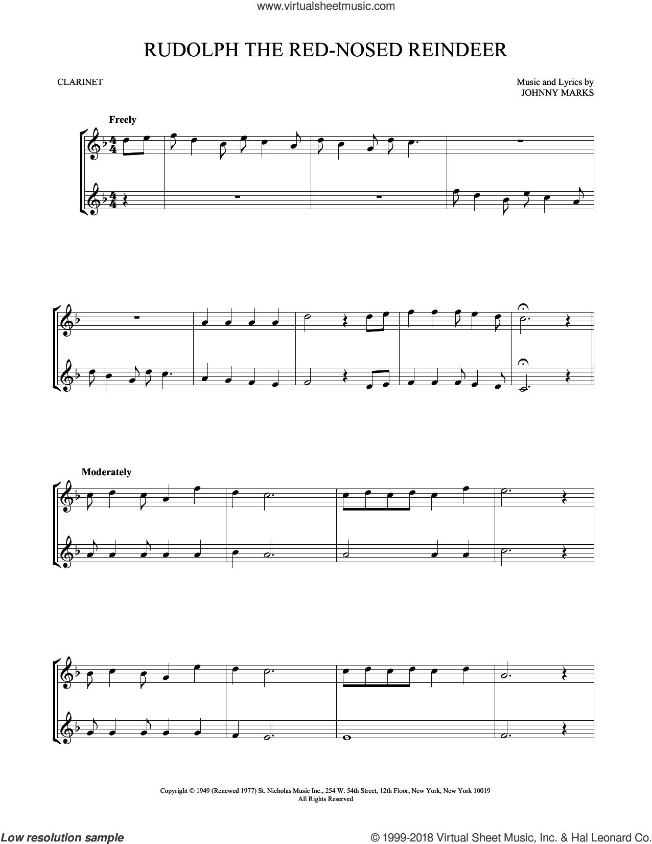 Rudolph The Red-Nosed Reindeer sheet music for two clarinets (duets) by Johnny Marks, intermediate skill level