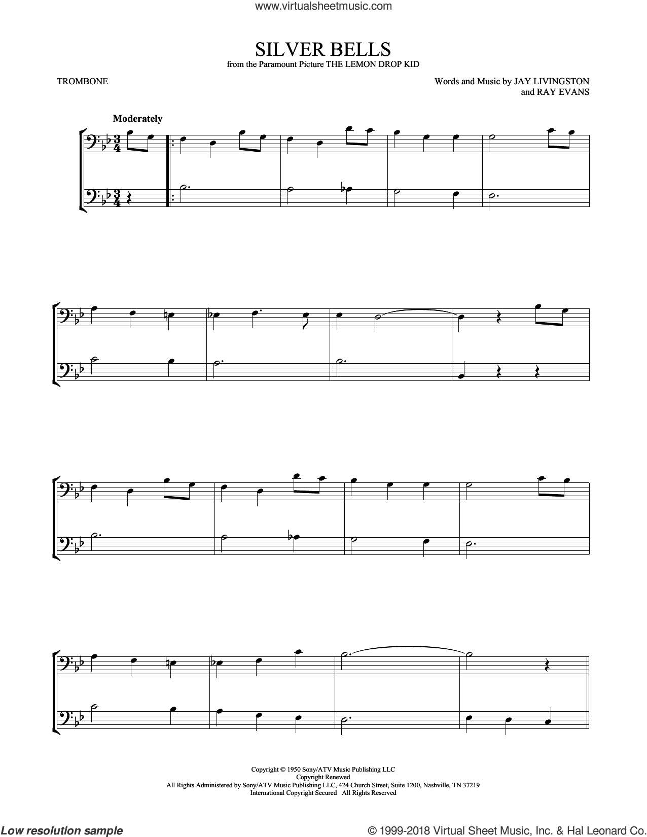 Silver Bells sheet music for two trombones (duet, duets) by Jay Livingston and Ray Evans, intermediate skill level