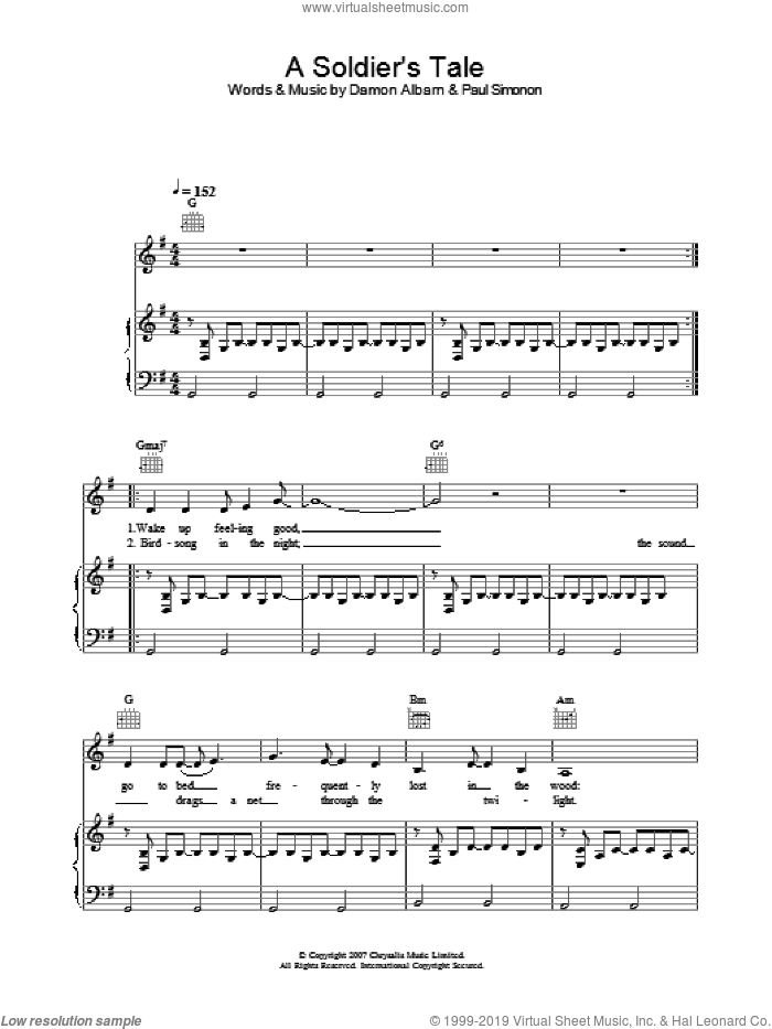 A Soldier's Tale sheet music for voice, piano or guitar by Damon Albarn