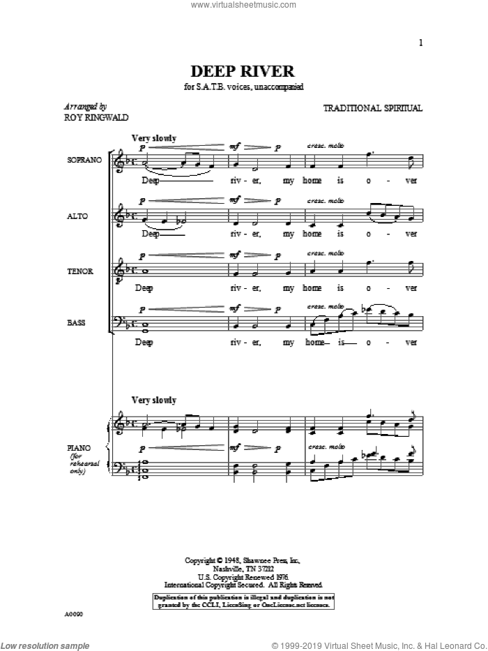 Deep River sheet music for choir by Roy Ringwald and Miscellaneous, intermediate skill level