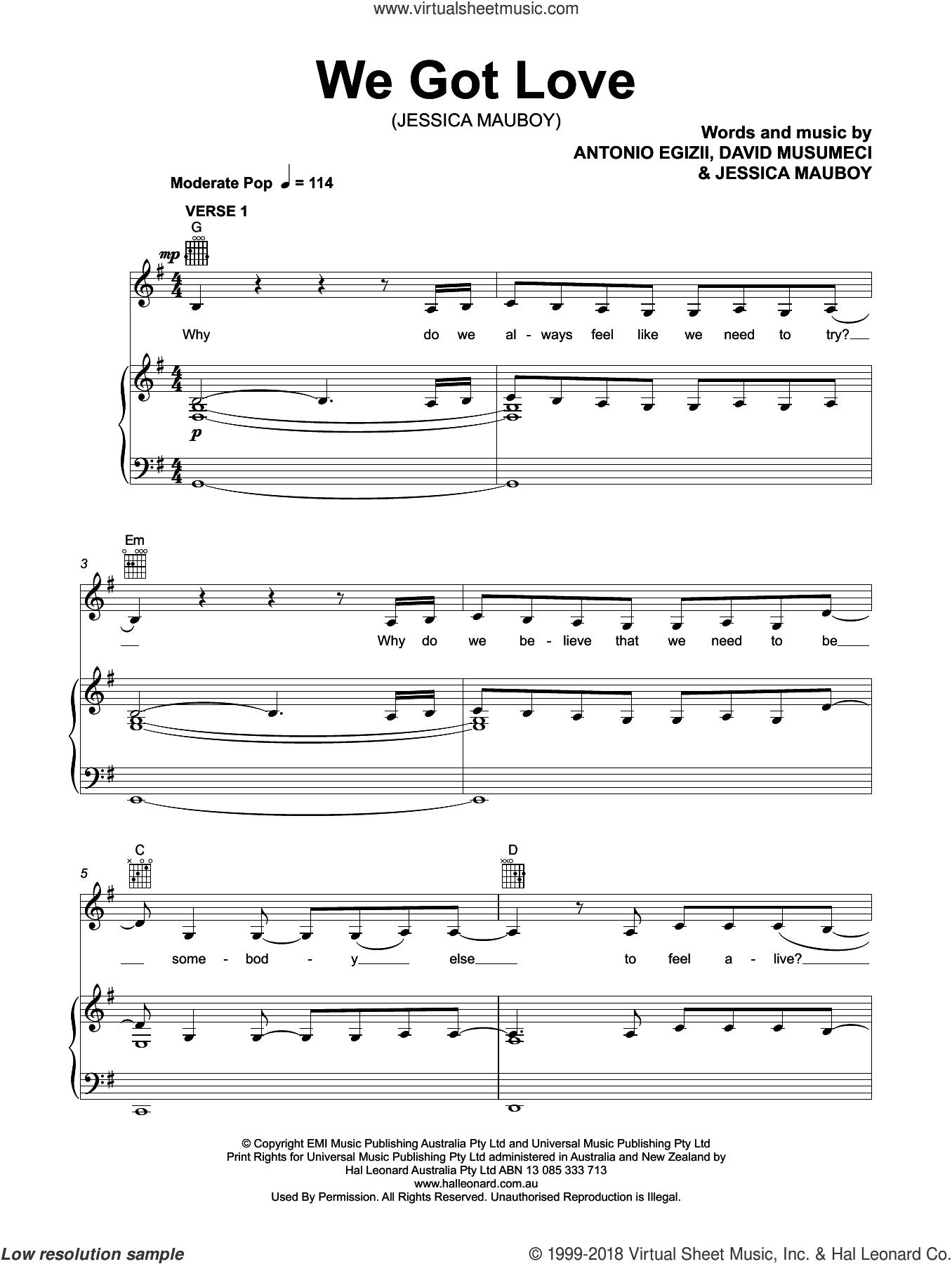 We Got Love sheet music for voice, piano or guitar by Jessica Mauboy, Antonio Egizii and David Musumeci, intermediate skill level