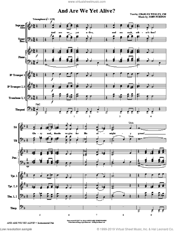 And Are We Yet Alive? sheet music for orchestra/band (Brass) by Charles Wesley