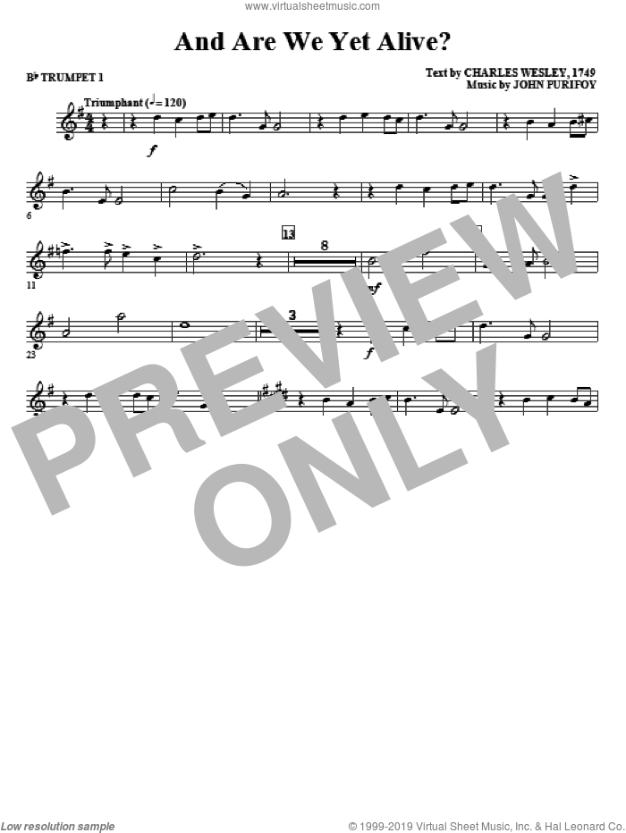 And Are We Yet Alive? sheet music for orchestra/band (Bb trumpet 1) by Charles Wesley