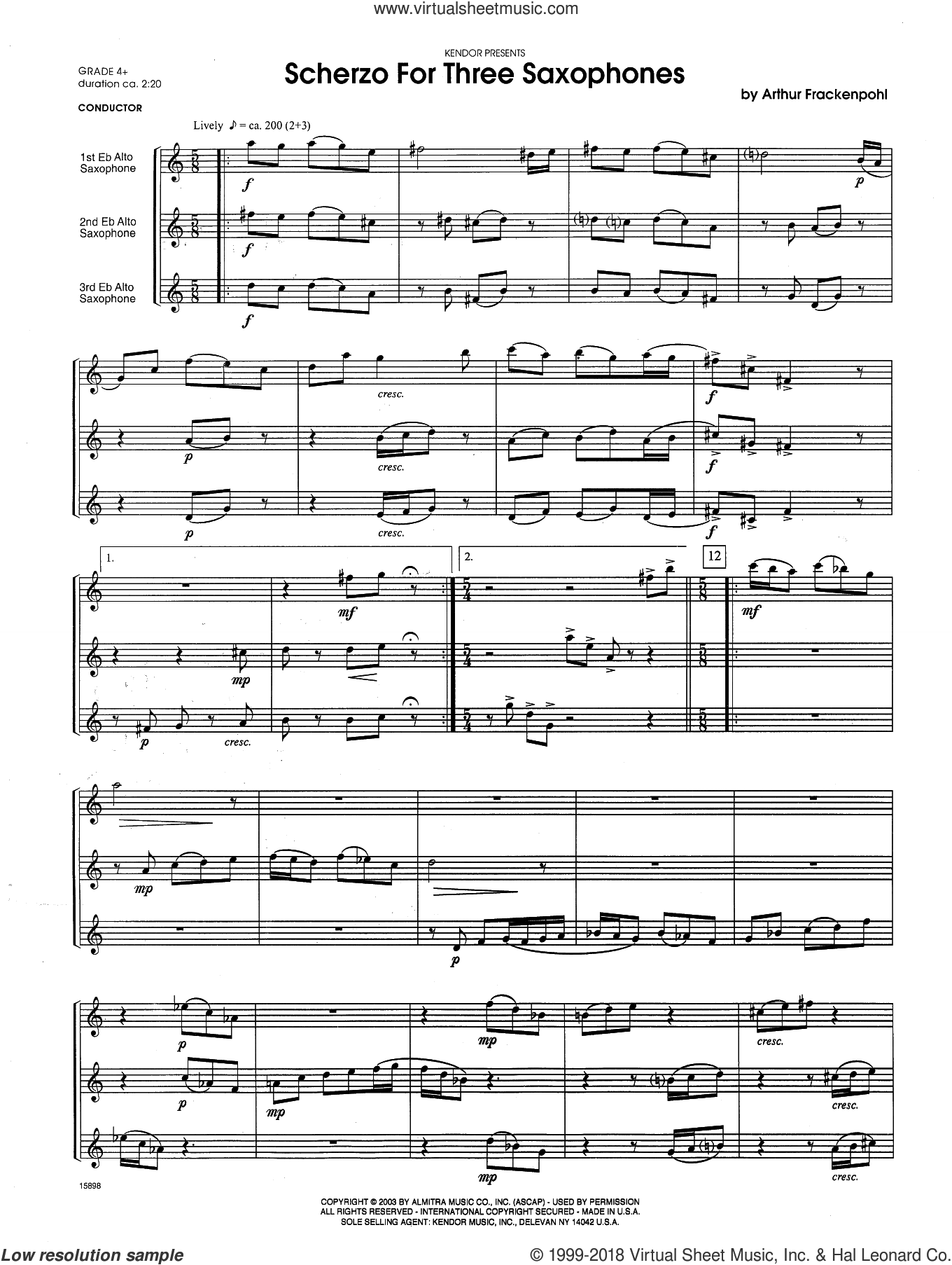 Scherzo For Three Saxophones (COMPLETE) sheet music for saxophone trio by Arthur Frackenpohl, classical score, intermediate skill level