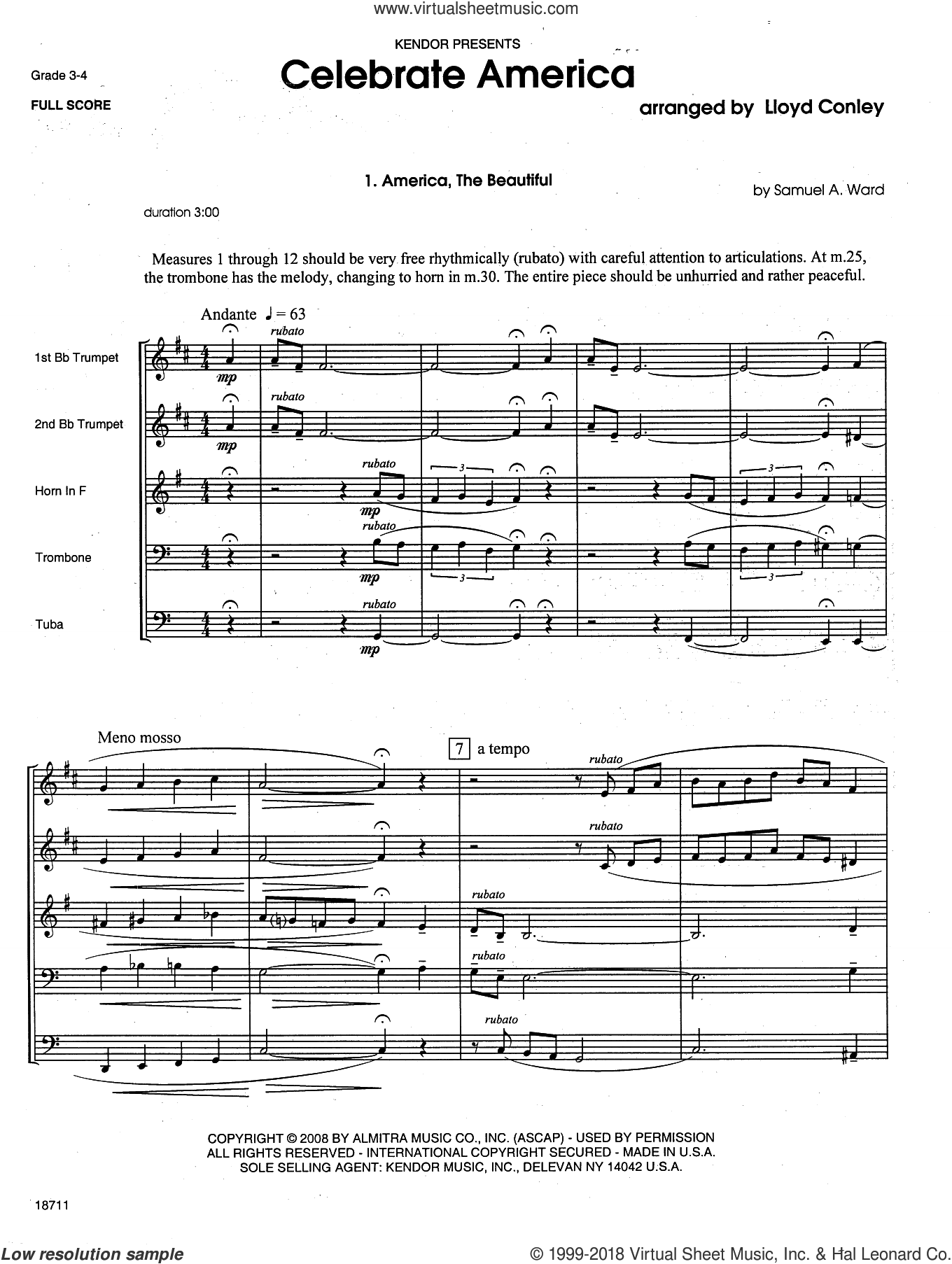 Celebrate America (COMPLETE) sheet music for brass quintet by Lloyd Conley, classical score, intermediate skill level
