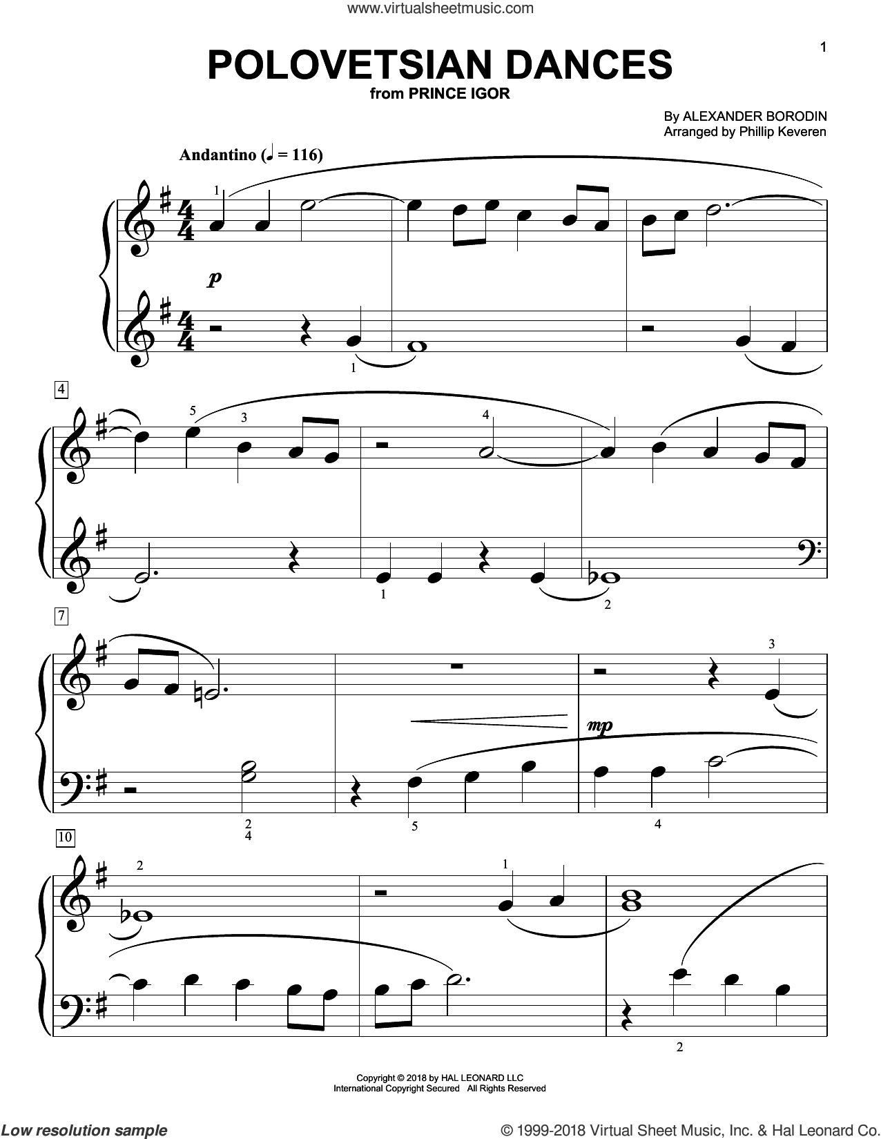 Polovetsian Dances sheet music for piano solo (big note book) by Alexander Borodin and Phillip Keveren, classical score, easy piano (big note book)