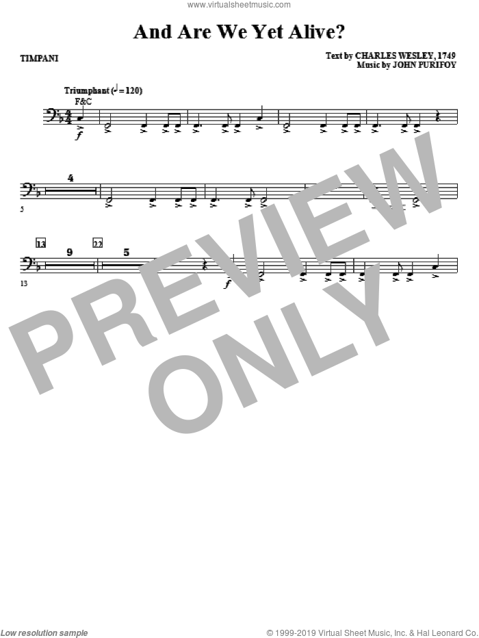 And Are We Yet Alive? sheet music for orchestra/band (timpani) by Charles Wesley