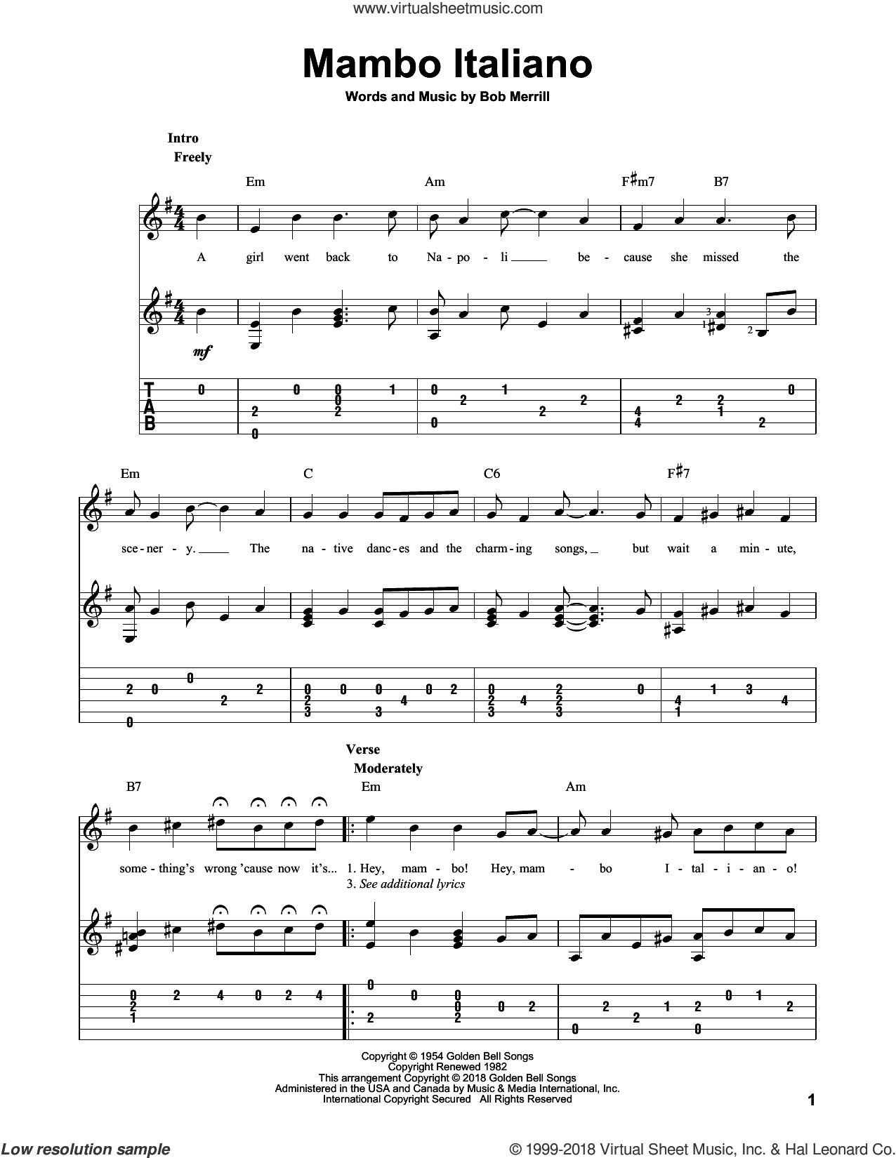Mambo Italiano sheet music for guitar solo by Bob Merrill, intermediate skill level