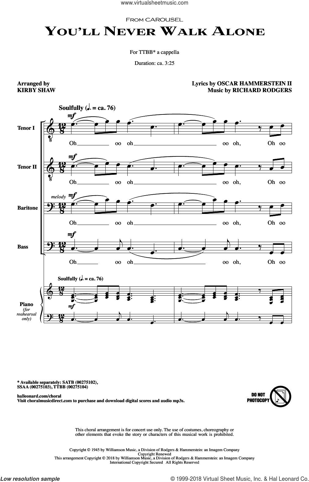 You'll Never Walk Alone sheet music for choir (TTBB: tenor, bass) by Richard Rodgers, Kirby Shaw and Oscar II Hammerstein, intermediate skill level