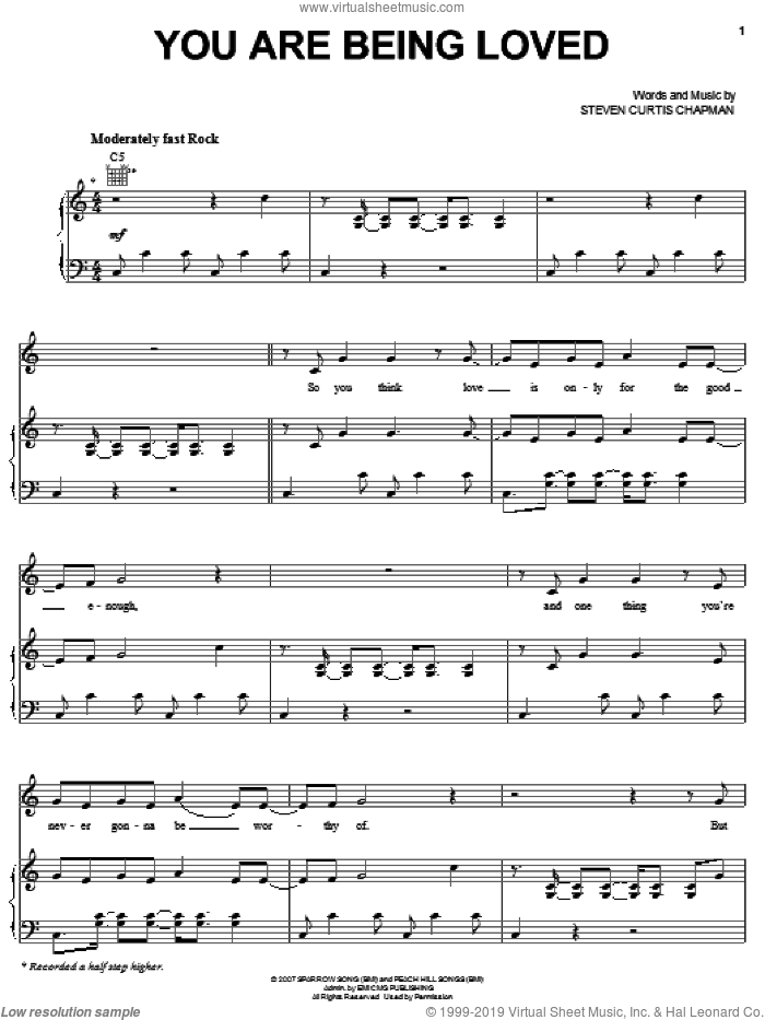 You Are Being Loved sheet music for voice, piano or guitar by Steven Curtis Chapman, intermediate