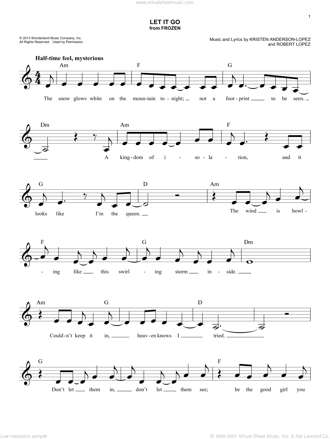 Let It Go (from Frozen) sheet music for voice and other instruments (fake book) by Idina Menzel, Kristen Anderson-Lopez and Robert Lopez, intermediate skill level
