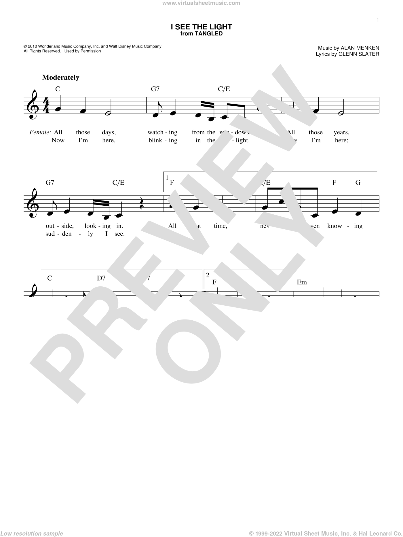 I See The Light sheet music for voice and other instruments (fake book) by Alan Menken and Glenn Slater, intermediate skill level