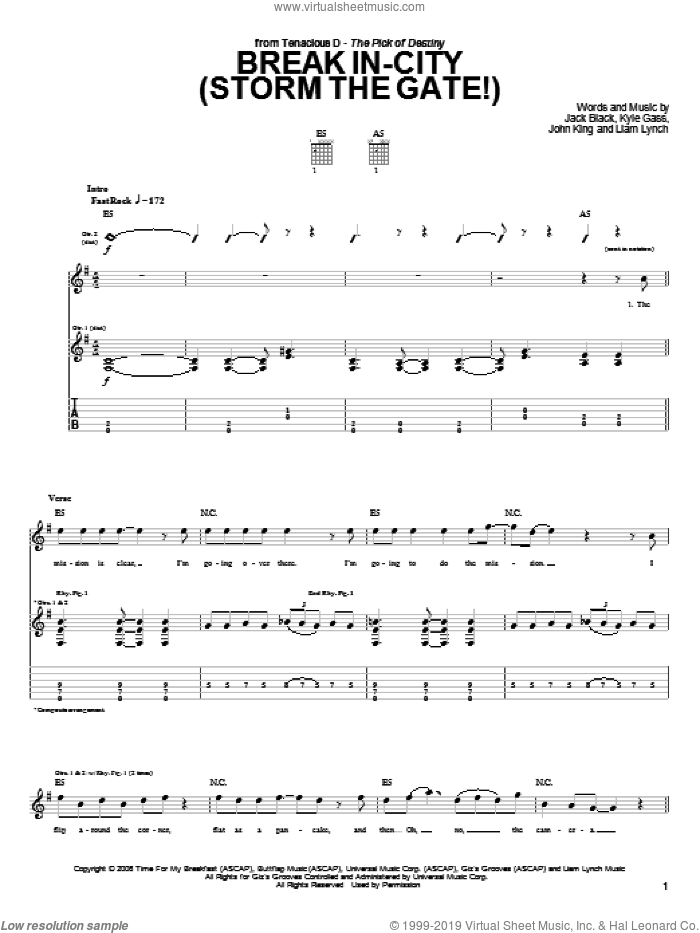 Break In-City (Storm The Gate!) sheet music for guitar (tablature) by Liam Lynch, Jack Black, John King and Kyle Gass. Score Image Preview.