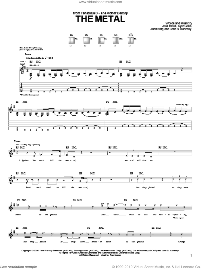 The Metal sheet music for guitar (tablature) by Kyle Gass, Jack Black and John King. Score Image Preview.