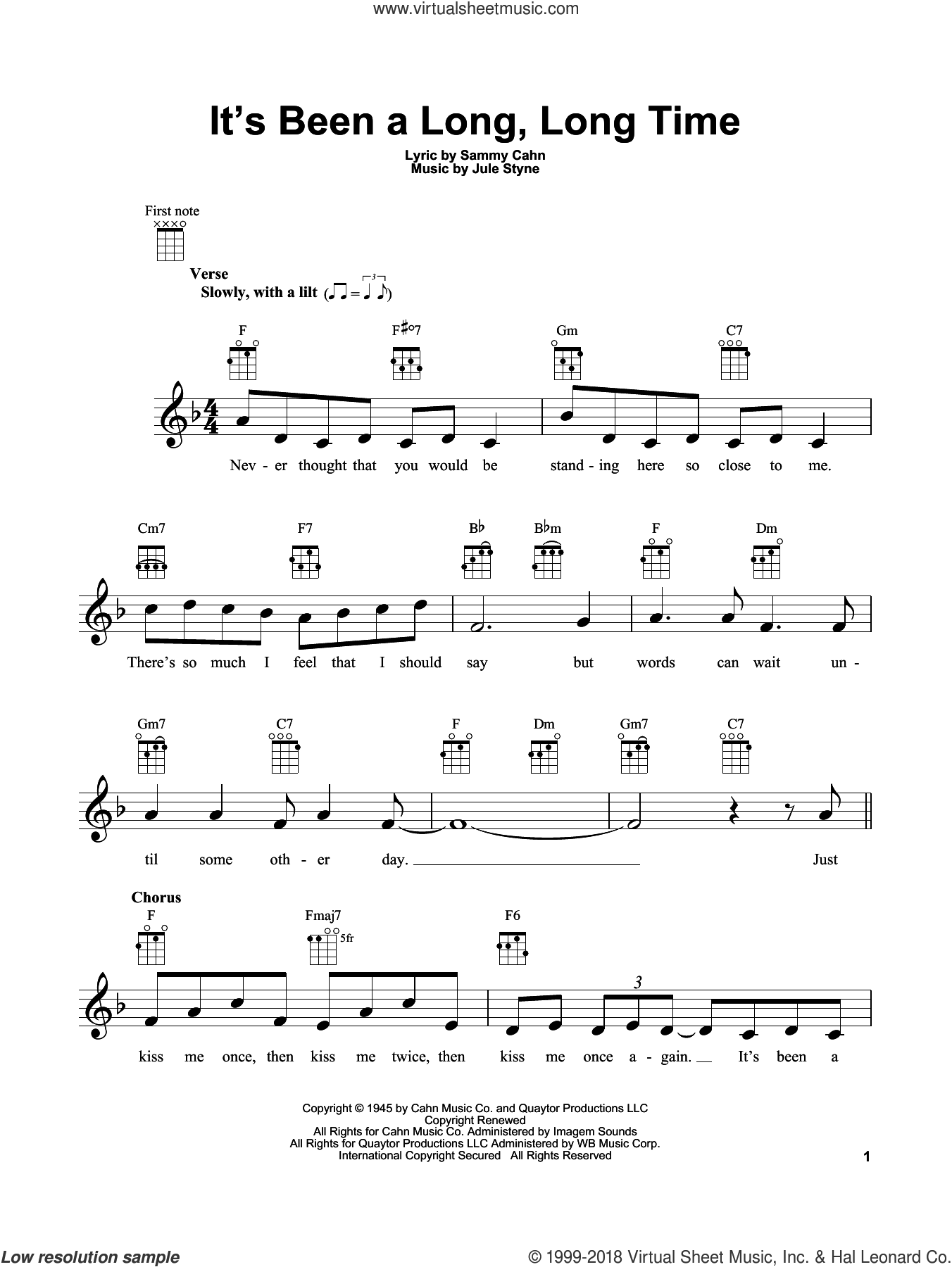 It's Been A Long, Long Time sheet music for ukulele by Sammy Cahn and Jule Styne, intermediate skill level