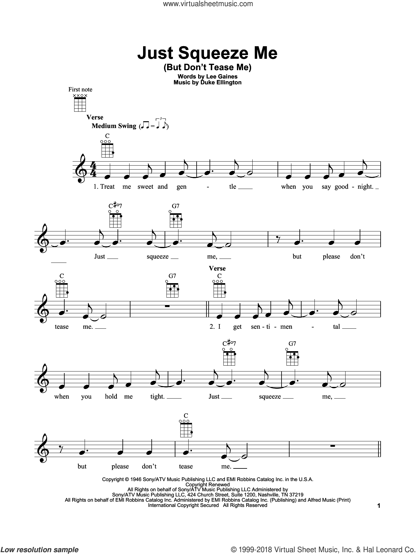 Just Squeeze Me (But Don't Tease Me) sheet music for ukulele by Duke Ellington and Lee Gaines, intermediate skill level