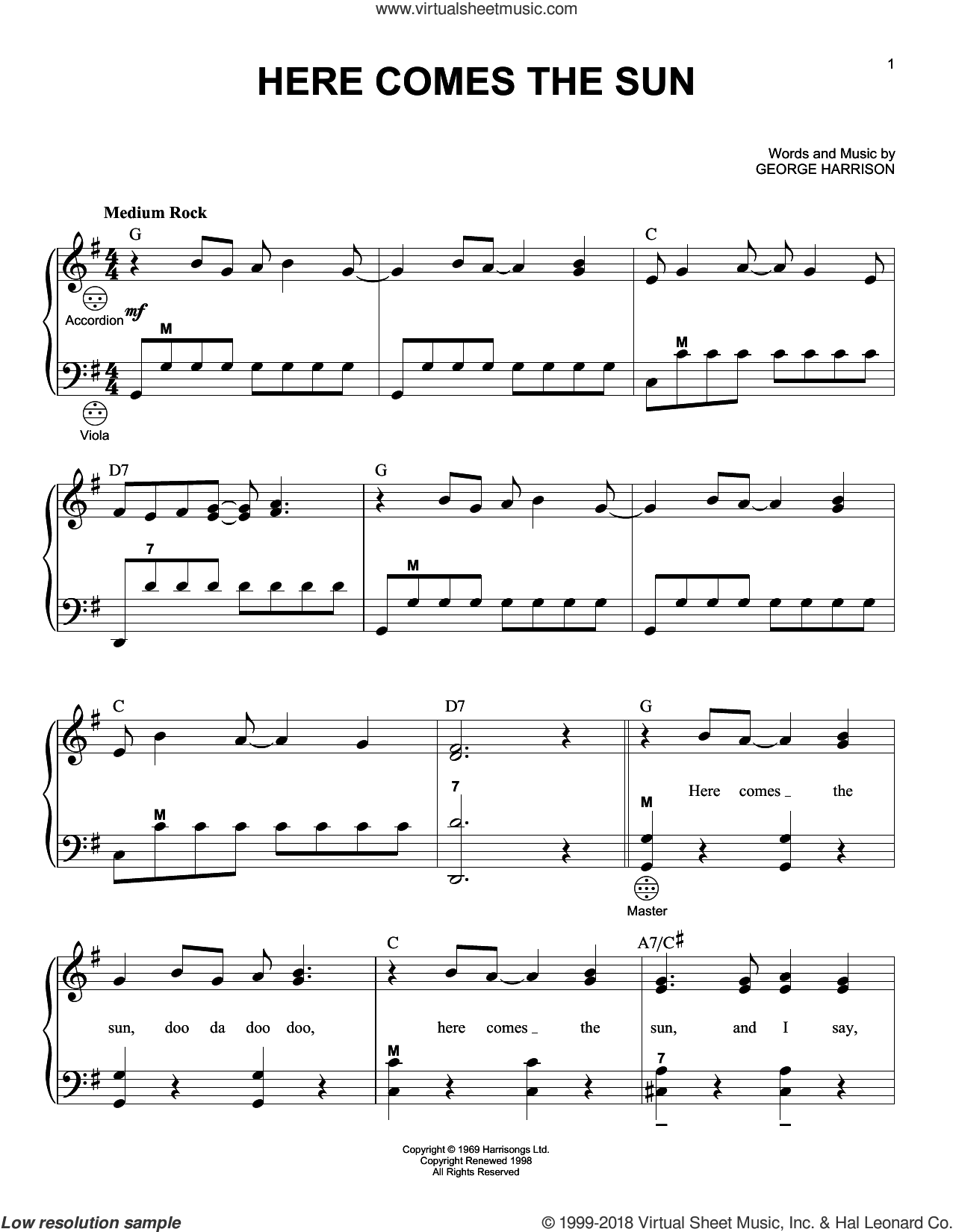 Here Comes The Sun sheet music for accordion by The Beatles and George Harrison, intermediate skill level